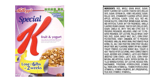 Special K fruit and yogurt cereal